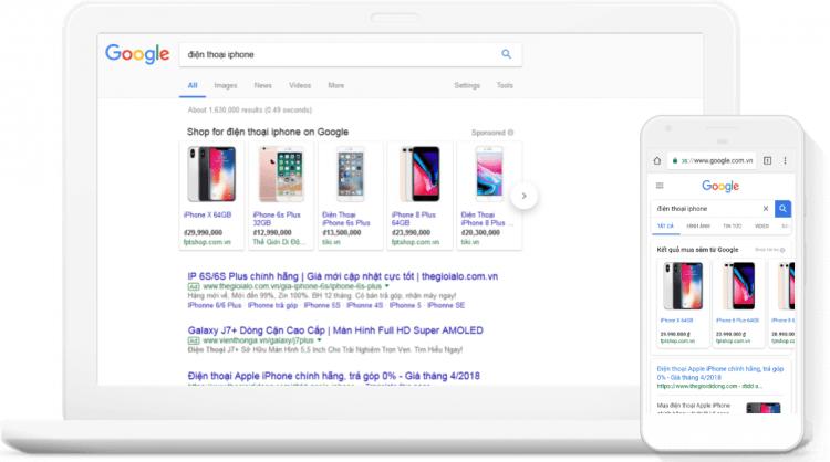 Giao diện sản phẩm hiển thị trên Google mua sắm trên máy tính và điện thoại.